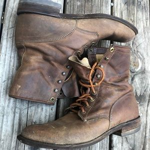 JUSTIN Brown Leather Western Boots Lace Up  Ropers